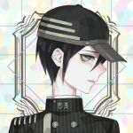 1boy ahoge bangs black_hair black_headwear brown_eyes buttons danganronpa_(series) danganronpa_v3:_killing_harmony double-breasted face head jacket looking_at_viewer male_focus multicolored multicolored_background profile saihara_shuuichi sara_(kurome1127) short_hair sideways_glance solo striped_jacket