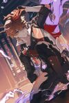 1boy absurdres bangs black_gloves black_pants blue_eyes boots closed_mouth crossed_bangs electricity eyebrows_visible_through_hair genshin_impact gloves hair_between_eyes highres holding holding_mask jacket jewelry looking_at_viewer male_focus mask one_knee orange_hair pants scarf single_earring solo sumi0332 tartaglia_(genshin_impact) vision_(genshin_impact)