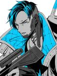 1boy apex_legends blue_eyes blue_hair crypto_(apex_legends) gun highres holding holding_gun holding_weapon jacket jewelry looking_to_the_side male_focus monochrome mozuwaka necklace parted_hair parted_lips rifle sniper_rifle solo spot_color undercut upper_body weapon white_background