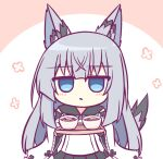 1girl animal_ears azur_lane bangs black_sailor_collar black_skirt blue_eyes chibi crossed_bangs eyebrows_visible_through_hair food grey_hair holding holding_tray japanese_clothes kashimu kawakaze_(azur_lane) kimono long_hair sailor_collar simple_background skirt solo tail tray two-tone_background udon white_background white_kimono wide_sleeves
