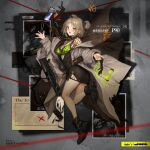 1girl bangs black_footwear black_shirt blush bra bra_strap brass_knuckles breasts brown_neckwear bullpup cellphone character_name coat coat_on_shoulders commentary_request copyright_name double_bun earrings eyebrows_visible_through_hair eyewear_removed girls_frontline green_bra green_nails green_panties grey_coat grid gun highres jewelry light_brown_hair lm7_(op-center) looking_at_viewer medium_breasts medium_hair nail_polish necktie official_art open_mouth p90 p90_(girls_frontline) panties phone red_eyes shirt smartphone smile solo standing standing_on_one_leg submachine_gun torn_clothes underwear weapon