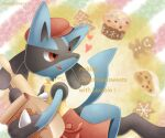 :q apron bag cake character_name christmas commentary_request food gen_4_pokemon hat holding looking_back lucario paper_bag pokemon pokemon_(creature) red_eyes red_headwear rolling_pin sasabunecafe solo spikes tongue tongue_out waist_apron yellow_fur