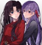 2girls artist_name bangs black_hair black_jacket blue_eyes collared_shirt commentary_request eyebrows_visible_through_hair fate/stay_night fate_(series) hair_ribbon highres hug hug_from_behind jacket jewelry long_hair long_sleeves looking_at_another matou_sakura multiple_girls necklace parted_bangs parted_lips pendant purple_hair red_ribbon red_shirt ribbon shimatori_(sanyyyy) shirt simple_background smile tohsaka_rin upper_body violet_eyes white_background white_shirt