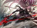 1girl armor bangs bodysuit breasts crossed_bangs dual_wielding fate/grand_order fate_(series) full_body gae_bolg_(fate) hair_between_eyes high_heels highres holding holding_spear holding_weapon large_breasts long_hair nishiide_kengorou outstretched_leg parted_lips pauldrons polearm purple_bodysuit purple_hair red_eyes scathach_(fate) scathach_(fate)_(all) shoulder_armor solo spear spread_legs thighs weapon