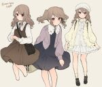 1girl bag black_dress black_footwear blush brown_dress brown_hair closed_mouth dress grey_background hat ikeuchi_tanuma jacket leaning_forward long_hair long_sleeves looking_at_viewer multiple_views open_clothes open_jacket original own_hands_together pink_jacket red_eyes shoes shoulder_bag simple_background smile socks twintails twitter_username white_dress white_headwear yellow_jacket