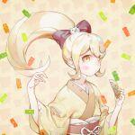1girl blonde_hair blush bow cat_hair_ornament comb commentary_request danganronpa_(series) danganronpa_2:_goodbye_despair danganronpa_3_(anime) floral_print hair_bow hair_ornament high_ponytail holding holding_comb japanese_clothes kimono long_hair long_sleeves looking_at_viewer obi pink_bow print_kimono saionji_hiyoko sara_(kurome1127) sash solo wide_sleeves yellow_eyes yellow_kimono