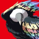absurdres animal_focus avogado6 bird colorful highres looking_at_viewer multicolored multicolored_eyes multicolored_wings no_humans original red_background simple_background vulture wings