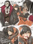 1boy 1girl apex_legends bangs biting black_gloves black_hair black_jacket blood blood_on_face blood_on_fingers blue_eyes crypto_(apex_legends) finger_licking gloves hand_on_another's_head hands_in_pockets hetero highres hood hug jacket licking mozuwaka multiple_views neck_biting official_alternate_costume orange_eyes orange_headwear parted_lips partially_fingerless_gloves tongue tongue_out vampire wattson_(apex_legends)