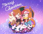 2boys arcanine baseball_cap blue_oak blush brown_eyes brown_footwear brown_hair brown_pants charizard christmas_cake commentary_request fire flame gen_1_pokemon hat holding_hand jacket jewelry kashiwa_(kasshiwa10) long_sleeves male_focus merry_christmas multiple_boys necklace one_eye_closed orange_hair pants pokemon pokemon_(game) pokemon_frlg pokemon_hgss red_(pokemon) red_headwear scarf shoes short_sleeves signature sitting spiky_hair spread_legs tree yellow_scarf