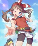 1girl ;d bike_shorts blush bow_hairband bracelet breasts brown_hair clouds commentary_request day double_v eyelashes fanny_pack floating_hair grey_eyes hairband hand_up highres jewelry kashiwa_(kasshiwa10) lens_flare long_hair looking_at_viewer may_(pokemon) one_eye_closed open_mouth outdoors pokemon pokemon_(game) pokemon_oras red_hairband red_shirt shirt shoes shorts sky sleeveless sleeveless_shirt smile solo teeth tongue v white_shorts yellow_bag