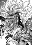 1other dragon eldritch_abomination extra_eyes giant giant_monster greyscale highres monochrome multiple_heads no_humans one-punch_man orochi_(opm) pagong sharp_teeth teeth tentacles
