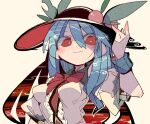 1girl black_headwear blue_hair bow bowtie breasts center_frills food frills fruit hair_between_eyes hand_on_headwear hand_up hat hat_ornament hinanawi_tenshi impossible_clothes impossible_shirt long_hair looking_at_viewer ma_sakasama medium_breasts patterned_hair peach red_eyes red_neckwear shirt short_sleeves simple_background smile solo touhou upper_body white_shirt wrist_cuffs
