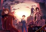 2boys 3girls absurdres ayanami_rei blue_eyes blue_hair bodysuit breasts brown_eyes brown_hair building car closed_mouth clouds crossed_legs glasses ground_vehicle hara_kenshi highres huge_filesize ikari_shinji looking_at_viewer makinami_mari_illustrious motor_vehicle multicolored multicolored_clothes multiple_boys multiple_girls nagisa_kaworu neon_genesis_evangelion one_eye_covered orange_eyes orange_hair plugsuit ponytail red_eyes short_hair silver_hair sitting souryuu_asuka_langley standing sun sunset thighs twintails white_hair