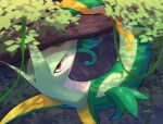 blurry blurry_foreground commentary_request from_above gen_5_pokemon highres looking_at_viewer looking_back no_humans nullma plant pokemon pokemon_(creature) red_eyes serperior signature solo vines