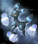 alternate_color artist_name black_eyes closed_mouth colored_sclera commentary_request english_text fire gen_2_pokemon gen_5_pokemon highres litwick looking_at_viewer looking_back no_humans paws pokemon pokemon_(creature) purple_fire sasabunecafe shiny_pokemon smile toes umbreon yellow_eyes yellow_sclera