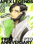 1boy anniversary apex_legends black_hair brown_eyes character_name crypto_(apex_legends) from_side head_tilt highres jacket light_smile looking_at_viewer male_focus mozuwaka parted_hair solo speech_bubble undercut upper_body white_jacket