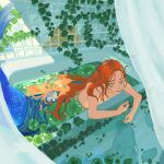 1girl absurdres bathtub flower highres kikyo_nggg leaf lily_pad long_hair mermaid monster_girl orange_hair original partially_submerged plant shower_curtain solo topless vines white_flower