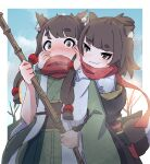 2girls :3 akari_(kuro_kosyou) animal_ear_fluff animal_ears bangs blunt_bangs blush breath broom brown_eyes brown_hair embarrassed eyebrows_visible_through_hair green_kimono hakama hand_on_another's_cheek hand_on_another's_face holding holding_broom japanese_clothes kimono kuro_kosyou long_sleeves multiple_girls nose_blush obi original outdoors raccoon_ears raccoon_girl raccoon_tail sash scarf shiori_(kuro_kosyou) shirt short_eyebrows short_ponytail siblings sidelocks sisters tail white_shirt wide_sleeves