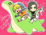 >_< 1boy 1girl annoyed apex_legends blue_footwear blush bodysuit crossed_legs crypto_(apex_legends) dated drone green_eyes hack_(apex_legends) hood hooded_jacket jacket looking_to_the_side mozuwaka musical_note nessie_(respawn) open_mouth orange_jacket pink_background science_fiction sitting smile v-shaped_eyebrows wattson_(apex_legends) white_bodysuit white_jacket