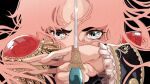 1girl black_background floating_hair flower grey_eyes highres holding holding_sword holding_weapon jewelry looking_at_viewer pimientosdulces pink_hair portrait red_flower red_rose ring rose shadow shoujo_kakumei_utena solo sword tenjou_utena twitter_username weapon