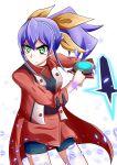1girl blue_hair bracelet duel_disk green_eyes high_ponytail multicolored_hair serena_(yuu-gi-ou_arc-v) sharkudon uniform yellow_bow yuu-gi-ou yuu-gi-ou_arc-v