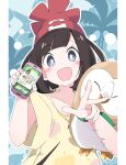 1girl :d beanie black_hair blue_eyes blush_stickers cellphone commentary_request eyebrows_visible_through_hair gen_7_pokemon hat holding holding_phone ixy looking_at_viewer open_mouth phone pokemon pokemon_(creature) pokemon_(game) pokemon_sm red_headwear rowlet selene_(pokemon) shirt short_hair short_sleeves smile v yellow_shirt