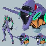 character_sheet dated eva_01 grey_background highres horns looking_ahead mecha moi_moi7 multiple_views neon_genesis_evangelion no_humans open_hands open_mouth redesign science_fiction white_eyes