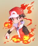 1boy baseball_cap brown_eyes brown_hair closed_mouth collarbone commentary_request fire hat highres holding holding_poke_ball jacket kashiwa_(kasshiwa10) male_focus poke_ball poke_ball_(basic) pokemon pokemon_(game) pokemon_frlg red_(pokemon) red_headwear short_hair smile solo upper_body wristband