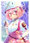 1girl animal_ears animal_hat bangs blurry blurry_background blush breasts cat_ears cat_hat closed_mouth collared_shirt commentary_request depth_of_field dress_shirt eyebrows_visible_through_hair fake_animal_ears glasses hair_between_eyes hair_ornament hairclip hand_up hat holding kouu_hiyoyo looking_at_viewer original pink_hair pink_skirt pleated_skirt puffy_short_sleeves puffy_sleeves red-framed_eyewear red_ribbon ribbon semi-rimless_eyewear shirt short_sleeves skirt small_breasts solo under-rim_eyewear violet_eyes white_headwear white_shirt