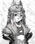 1girl :d choker final_fantasy final_fantasy_xiv gauntlets greyscale hands_on_hips highres houtengeki lalafell long_hair looking_at_viewer monochrome open_mouth pelt pointy_ears round_teeth smile solo teeth upper_body upper_teeth
