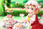 1girl blonde_hair blurry blurry_background cake cake_slice cherry_blossoms commentary_request cravat creamer_(vessel) cup cupcake day elbows_on_table expressionless eyebrows_visible_through_hair flandre_scarlet flower food food_themed_hair_ornament hair_between_eyes hair_flower hair_ornament hat hat_ribbon hedge_(plant) highres holding holding_cup light_blush looking_at_viewer macaron mixed-language_commentary mob_cap nyanyanoruru one_side_up outdoors pancake pink_headwear puffy_short_sleeves puffy_sleeves red_eyes red_flower red_rose red_skirt red_vest redrawn ribbon rose saucer shirt short_hair short_sleeves sitting skirt solo strawberry_hair_ornament table tea_set teacup teapot tiered_tray touhou vest walkway white_shirt wings yellow_neckwear