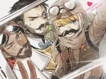 1girl 2boys apex_legends backpack bag beard blue_eyes blue_neckwear bow bowtie brown_hair brown_headwear brown_jacket copyright_name crypto_(apex_legends) dark_skin dark_skinned_male facial_hair fake_facial_hair fake_mustache goggles goggles_on_head goggles_on_headwear heart highres jacket mirage_(apex_legends) mozuwaka multiple_boys mustache official_alternate_costume one_eye_closed open_mouth phone_screen scar scar_across_eye selfie smile v wattson_(apex_legends)