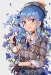 1girl absurdres ascot beret black_choker black_gloves blue_eyes blue_hair blue_neckwear blush bow buttons choker cowboy_shot crown double-breasted dress earrings eyebrows_visible_through_hair flower gloves hair_bow haru_yu hat highres holding holding_flower hololive hoshimachi_suisei jewelry long_sleeves looking_at_viewer medium_hair necklace parted_lips partially_fingerless_gloves pendant plaid short_dress side_ponytail smile solo star_(symbol) star_necklace virtual_youtuber