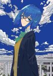 1girl absurdres bangs black_jacket blazer blue_eyes blue_hair blurry bow bowtie building ciel_(tsukihime) clouds collared_shirt commentary_request day depth_of_field fence from_side glasses green_neckwear highres jacket looking_at_viewer school_uniform shirt short_hair sky solo standing tsukihime tsukihime_(remake) upper_body vest white_shirt xtango yellow_vest