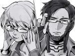 1boy 1girl apex_legends bangs bespectacled bright_pupils close-up crypto_(apex_legends) eyebrows_visible_through_hair glasses greyscale hair_behind_ear head_tilt highres lichtenberg_figure looking_at_viewer looking_to_the_side monochrome mozuwaka one_eye_closed parted_hair scar scar_on_cheek scar_on_face short_hair tongue tongue_out wattson_(apex_legends) white_pupils