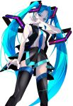 1girl alternate_costume bangs black_skirt black_vest blue_eyes blue_hair blue_neckwear covered_mouth goma_irasuto hatsune_miku headphones highres long_hair looking_down necktie open_hands shirt_tucked_in skirt solo thigh-highs twintails very_long_hair vest vocaloid white_background