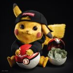 3d backwards_hat bitcoin black_background closed_mouth commentary english_commentary fur galyosef gen_1_pokemon hat highres looking_at_viewer money orange_eyes pikachu poke_ball pokemon realistic simple_background sitting solo supreme tagme yellow_fur