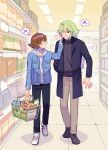 2boys black_pants brown_footwear brown_hair buttons cheek_pinching coat collarbone commentary_request denim denim_jacket green_hair height_difference hilbert_(pokemon) holding hood hoodie indoors jacket long_hair long_sleeves male_focus multiple_boys n_(pokemon) one_eye_closed open_clothes open_coat open_jacket open_mouth p_(flavorppp) pants parted_lips pinching pokemon pokemon_(game) pokemon_bw shelf shoes shop shopping shopping_basket short_hair sneakers spoken_sweatdrop sweatdrop white_footwear