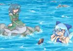 3girls absurdres asphyxiation bittersweetwomb blue_eyes blue_hair bowl cirno crying dress drowning glint green_dress hair_ribbon happy highres japanese_clothes kimono mermaid monster_girl multiple_girls needle ocean partially_submerged ribbon rock seaweed short_hair smile sukuna_shinmyoumaru swimsuit touhou wakasagihime water waves worried