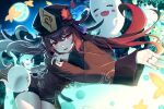 1girl bangs black_shorts brown_hair brown_shirt chinese_clothes flower genshin_impact ghost hat hat_flower highres hu_tao jiaoshoutongxue long_sleeves moon multiple_rings open_mouth plum_blossoms red_eyes shirt short_shorts shorts solo twintails wide_sleeves