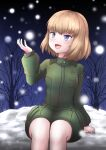 1girl bangs blonde_hair blue_eyes bob_cut commentary eyebrows_visible_through_hair fang girls_und_panzer green_jumpsuit highres insignia jumpsuit katyusha_(girls_und_panzer) long_sleeves looking_to_the_side marin5313 night night_sky open_mouth outdoors pravda_military_uniform short_hair short_jumpsuit sky smile snow snowing