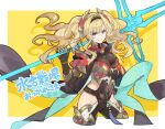 1girl blonde_hair blue_eyes breasts cropped_legs granblue_fantasy grin hairband hand_on_hip highres large_breasts osamu_(jagabata) over_shoulder polearm smile spear twintails weapon weapon_over_shoulder yellow_background zeta_(granblue_fantasy)