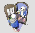 1boy 1other black_shorts blue_hoodie candy commentary_request cosplay doorway food gloves grin halloween hand_in_pocket highres hood hood_down hoodie lollipop long_sleeves looking_at_another neruco opening_door pink_footwear sans sans_(cosplay) shadow shorts signature skeleton slippers smile standing super_smash_bros. swirl_lollipop tile_floor tiles undertale white_gloves window wreath