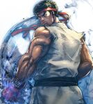 1boy aura black_hair boyaking clenched_hand closed_mouth commentary_request constricted_pupils dougi from_behind gloves green_eyes headband looking_back male_focus muscular muscular_male red_gloves ryu_(street_fighter) sash short_hair sleeveless solo street_fighter torn_clothes torn_sleeves upper_body veins