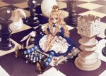 1girl alice_(wonderland) alice_in_wonderland blonde_hair blue_eyes board_game boots card chess chess_piece crown cup dice dress egg fork hat highres hourglass knife long_hair looking_at_viewer lying_card oversized_object oyari_ashito playing_card pocket_watch queen rabbit redrawn sitting solo spoon striped striped_legwear sugar_bowl sugar_cube tea teacup thigh-highs watch white_rabbit