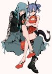 2girls absurdres arknights arm_ribbon bare_arms bare_legs bare_shoulders black_shirt black_shorts blue_eyes blue_hair boots ch'en_(ageless_afterglow)_(arknights) ch'en_(arknights) chest_belt china_dress chinese_clothes cleavage_cutout clothing_cutout crossed_arms crossed_legs double_bun dragon_girl dragon_horns dragon_tail dress green_eyes green_hair green_pants halftone hand_on_another's_hip highres horns hoshiguma_(arknights) hoshiguma_(patrolling_ronin)_(arknights) long_hair looking_at_viewer matumot multiple_girls official_alternate_costume oni_horns pants pelvic_curtain red_dress red_footwear ribbon shirt shorts sidelocks simple_background tail white_background