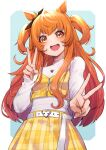 1girl :d absurdres animal_ears blue_background breasts commentary_request double_v eyebrows_visible_through_hair highres horse_ears horse_girl jewelry long_hair long_sleeves looking_at_viewer mayano_top_gun_(umamusume) mikan_(chipstar182) open_mouth orange_hair pendant small_breasts smile solo two-tone_background two_side_up umamusume upper_body v white_background yellow_eyes