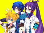 3boys :p arm_warmers armor bass_clef black_collar black_sleeves blue_eyes blue_hair blue_scarf coat collar collared_shirt commentary cup grin hair_ornament hair_stick hand_in_hair hand_up headphones headset holding holding_cup holding_spoon ice_cream_cup japanese_clothes kagamine_len kaho_0102 kaito kaito_(vocaloid3) kamui_gakupo long_hair looking_at_viewer male_focus multiple_boys ponytail purple_hair sailor_collar scarf school_uniform shirt short_ponytail short_sleeves shoulder_armor sideways_glance smile spiky_hair spoon tongue tongue_out v-shaped_eyebrows very_long_hair vocaloid w white_coat white_robe white_shirt yellow_background