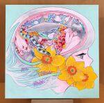 4girls aqua_background flower grey_eyes grey_hair minchisan multiple_girls original photo_(medium) profile purple_flower red_ribbon ribbon shark short_hair snake yellow_flower