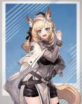1girl :d animal_ear_fluff animal_ears arknights bangs belt black_headwear black_legwear black_shorts blonde_hair blue_background blue_eyes breasts character_name clothes_writing commentary_request contrapposto eyebrows_visible_through_hair eyelashes framed_breasts garrison_cap hand_on_hip hand_up hat horse_ears horse_girl horse_tail index_finger_raised large_breasts long_sleeves looking_at_viewer open_mouth ryuuzaki_ichi short_shorts shorts smile solo swept_bangs tail thigh-highs whislash_(arknights)